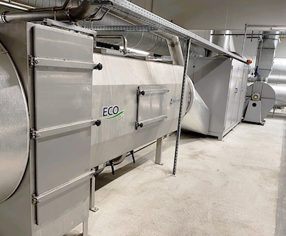 Pic 1: BRÜCKNER ECO-HEAT and ECO-AIR system on the stenter at FEINJERSEY (C) 2021 Brueckner