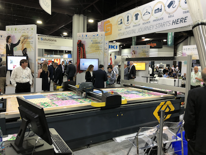 Gerber booth at the Texprocess Americas 2018 in Atmanta also showing as a guest the Kornit digital printer (c) Gerber Technology