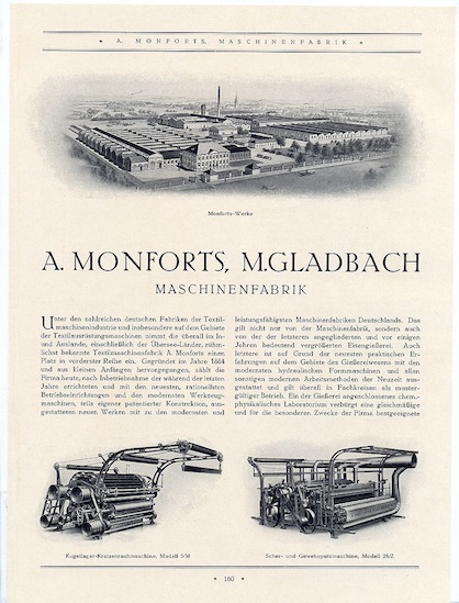 An 1927 advertisement for Monforts with the raising machine depicted bottom left (c) 2021 Monforts