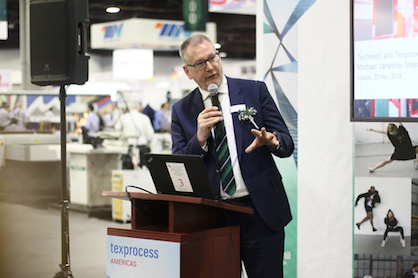 Michael Jaenecke, Global Director of Brand Management for Technical Textiles & Textile processing at Messe Frankfurt gave a speech at the show (c) 2018 Messe Frankfurt