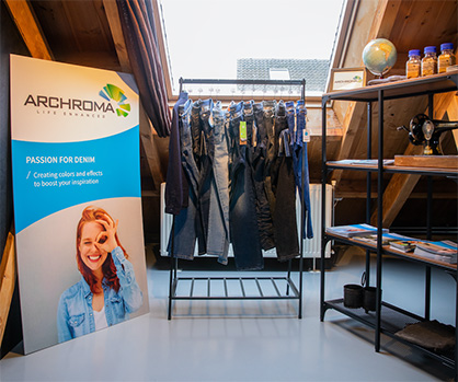 Archroma's showcase at The Denim Window's location in Amsterdam, Netherlands. (Photo: The Denim Window)