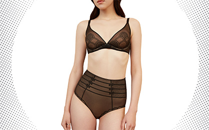 A woman wears a bra and panty set with LYCRA® FitSense™ technology for nipple concealment and lightweight, targeted support. (Photo: Business Wire)