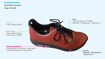 Also this concept shoe for leisure features more sustainable, comfortable and aesthetic material solutions. © Calçados Beira Rio / Covestro