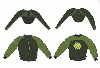Project results of the TPL in cooperation with the Hans Riegel Foundation: Interactive jacket controls LEDs through arm movements © Textile Prototyping Lab