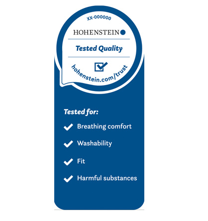 The Hohenstein Quality Label for Tested Community Masks makes the quality and durability of the products visible. © Hohenstein