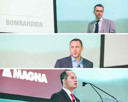 From top to bottom: Martin BIGRAS, Senior Expert Engineer - Composite Materials at Bombardier; Greg BEISER, Director – Future Mobility/Smart Cities at Faurecia; Paul SPADAFORA, Global Vice President of Product Development at Magna Exteriors (c) 2018 JEC
