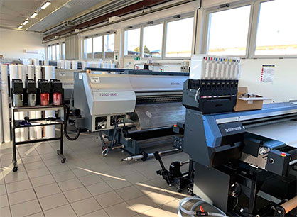 Mimaki's machines at Digitak operate continuously, 24/7. By day, the machines are mainly used to develop and produce samples and colour proofs, while the actual production is carried out at night. (c) 2020 Mimaki