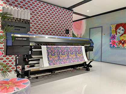 The new printer, which is an evolution of the Mimaki TX300P-1800, is on display at ITMA 2019 (c) 2019 Mimaki