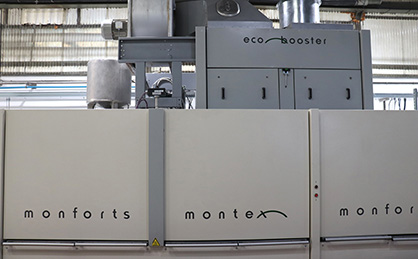 The stenter is one of the first in Europe to benefit from the integration of the self-cleaning Monforts Eco Booster heat recovery unit. (c) 2018 Monforts