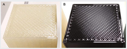 The part (A) printed with clear ingeo 3D700 shows fewer gaps on the top solid fill layers and between perimeters in comparison to the general-purpose PLA grade part (B) in black © 2021 MCPP