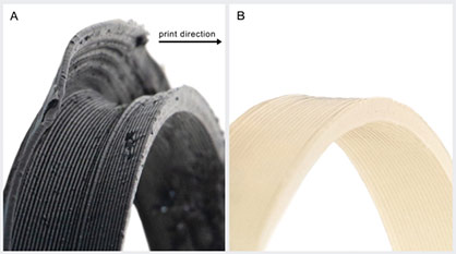 Part (A) black printed with polypropylene shows notable warpage in the side wall compared with the same part (B) printed with clear ingeo 3D700 even when prinzt conditions were optimized for each material © 2021 Dyze Design