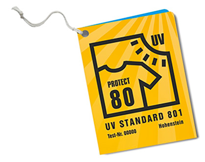 Always check for the UV STANDARD 801 label when buying UV-protective textiles. (c) 2018 Hohenstein