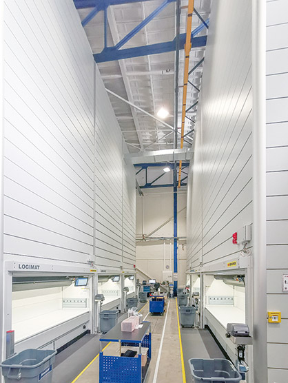 The new Oerlikon Neumag and Oerlikon Nonwoven logistics center now offers more than 250 m² of storage space for in excess of 25,000 parts. (c) 2020 Oerlikon
