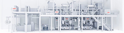 Oerlikon Nonwoven double-beam meltblown system – here with integrated ecuTEC+ for electrostatically-charging the filter media. © 2021 Oerlikon