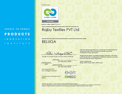 The first Platinum Cradle to Cradle Certificate awarded to Rajby Textiles (c) 2020 Rajby
