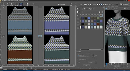 Shima Seiki's new SDS-ONE APEX design software now features the 4,320 color references of Archroma's Color Atlas library. (Photo: Shima Seiki)